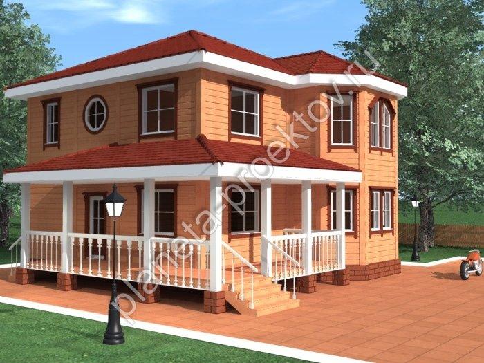Проект дома из бруса с эркером
