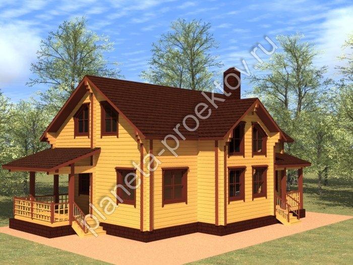 проекты домов из бруса с мансардой фото