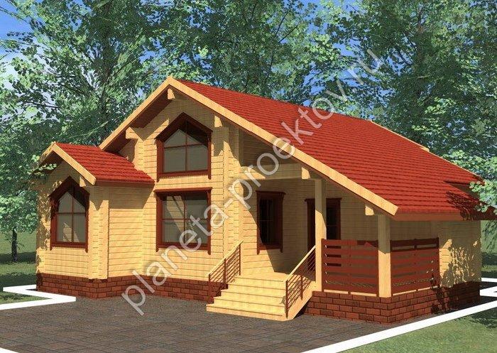 проект одноэтажного дома 10 10 из бруса