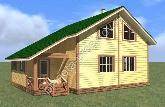 Проект дома из бруса с мансардой 10 132